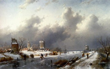 landscape Painting - A Frozen Winter Landscape With Skaters landscape Charles Leickert stream
