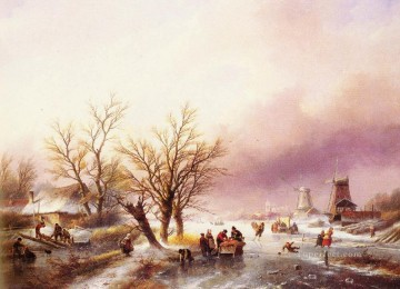 A Winter Landscape Jan Jacob Coenraad Spohler stream Oil Paintings