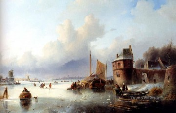 A Winter Landscape With Numerous Skaters On A Frozen Waterway Jan Jacob Coenraad Spohler stream Oil Paintings