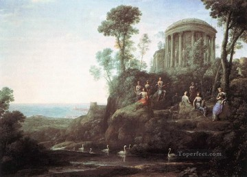 muses Painting - Apollo and the Muses on Mount Helion Parnassus landscape Claude Lorrain stream
