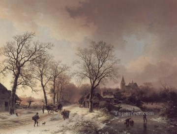 stream Painting - Figures in a Winter Landscape Dutch Barend Cornelis Koekkoek stream