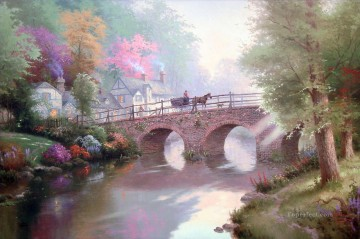 outdoor landscape landscapes scenery scenes impasto kinkade venice seascape street Painting - Hometown Bridge Thomas Kinkade Landscapes stream