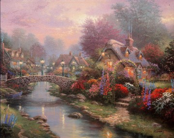 outdoor landscape landscapes scenery scenes impasto kinkade venice seascape street Painting - Lamplight Bridge Thomas Kinkade Landscapes stream