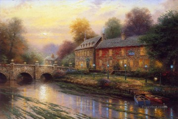 Lamplight Inn Thomas Kinkade Landscapes stream Oil Paintings
