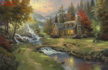 Mountain Paradise Thomas Kinkade Landscapes stream Oil Paintings
