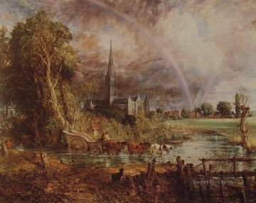 Meadow Art - Salisbury Cathedral from the Meadows Romantic landscape John Constable stream