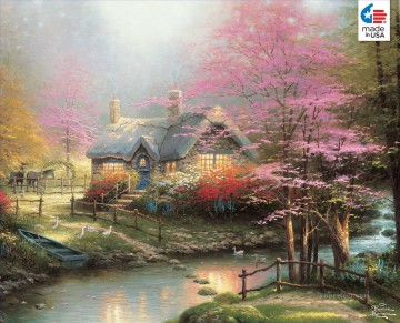 Stepping Stone Cottage Thomas Kinkade Landscapes stream Oil Paintings
