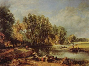 Stratford Mill Romantic landscape John Constable stream Oil Paintings