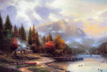 The End Of A Perfect Day III Thomas Kinkade Landscapes stream Oil Paintings