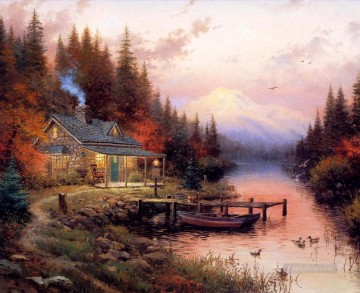 The End Of A Perfect Day Thomas Kinkade Landscapes stream Oil Paintings