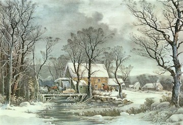 Winter In The Country The Old Grist Mill Landscapes stream Oil Paintings