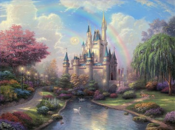 A New Day at the Cinderella Castle Thomas Kinkade Landscapes stream Oil Paintings