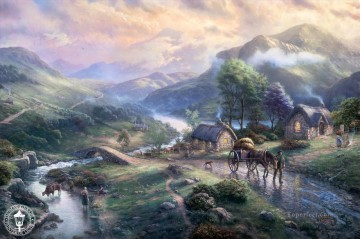 Brook River Stream Painting - Emerald Valley Thomas Kinkade Landscapes stream