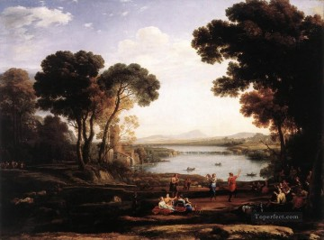 Lorrain Art Painting - Landscape with Dancing Figures The Mill Claude Lorrain stream