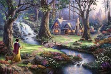 Snow White Discovers the Cottage Thomas Kinkade Landscapes stream Oil Paintings