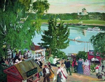 promenade along the volga 1909 Boris Mikhailovich Kustodiev river landscape Oil Paintings