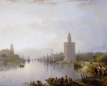 the golden tower 1833 David Roberts river landscape Oil Paintings