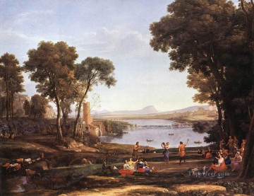 Lorrain Art Painting - Landscape with Dancing Figures Claude Lorrain stream