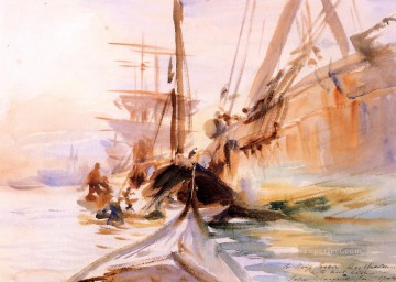 Unloading Boats John Singer Sargent Venice Oil Paintings