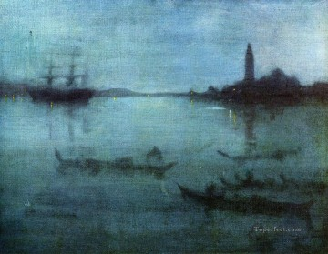 Silver Canvas - Blue and Silver Nocturne in Blue and Silver The Lagoon James Abbott McNeill Whistler Venice