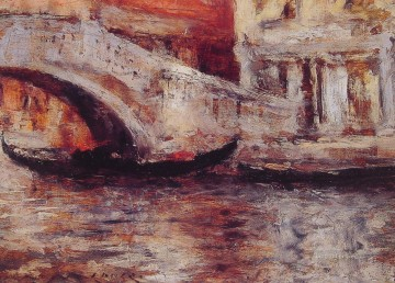 Cityscape Painting - Gondolas Along Venetian Canal impressionism William Merritt Chase Venice