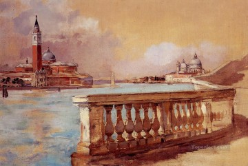 Cityscape Painting - Grand Canal in scenery Frank Duveneck Venice