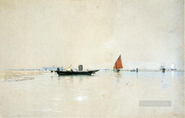 seascape mediterranean sea venice boat ship waterscape Painting - Venetian Lagoon seascape boat William Stanley Haseltine Venice