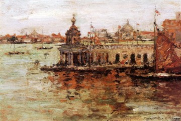 Cityscape Painting - View of the Navy Arsenal impressionism William Merritt Chase Venice