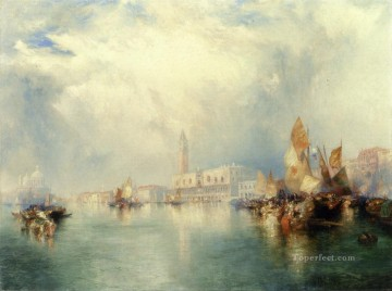 seascape mediterranean sea venice boat ship waterscape Painting - Grand Canal seascape Thomas Moran Venice