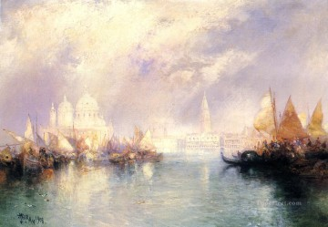 seascape mediterranean sea venice boat ship waterscape Painting - The Church of Santa Maria della Salute seascape Thomas Moran Venice