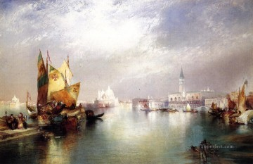 seascape mediterranean sea venice boat ship waterscape Painting - The Splendor of seascape Thomas Moran Venice