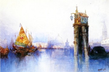 seascape mediterranean sea venice boat ship waterscape Painting - Venetian Canal Scene seascape Thomas Moran Venice
