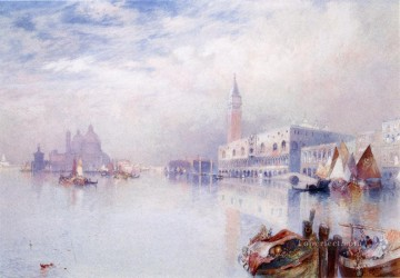 seascape mediterranean sea venice boat ship waterscape Painting - Venetian Scene seascape boat Thomas Moran Venice