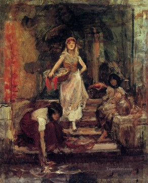 Washerwomen study figure portrait Frank Duveneck Venice Oil Paintings