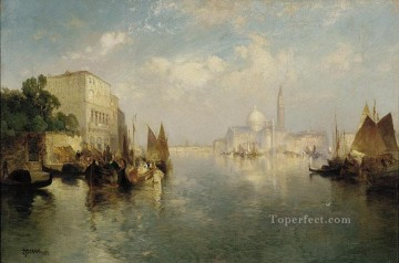 seascape mediterranean sea venice boat ship waterscape Painting - seascape Thomas Moran Venice