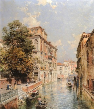 A View in Rio S Marina Franz Richard Unterberger Venice Oil Paintings