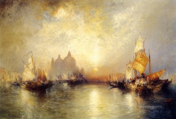 seascape mediterranean sea venice boat ship waterscape Painting - Entrance to the Grand Canal 2 seascape boat Thomas Moran Venice