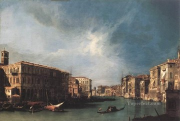 Cityscape Painting - The Grand Canal From Rialto Toward The North Canaletto Venice