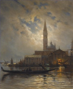Landscapes Painting - VENICE BY MOONLIGHT Alexey Bogolyubov cityscape city views classical