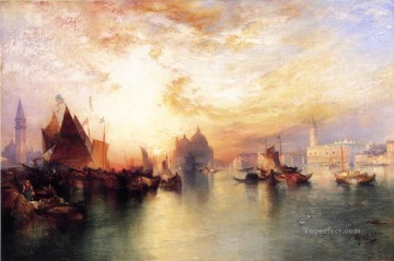 seascape mediterranean sea venice boat ship waterscape Painting - from near San Giorgio seascape Thomas Moran Venice