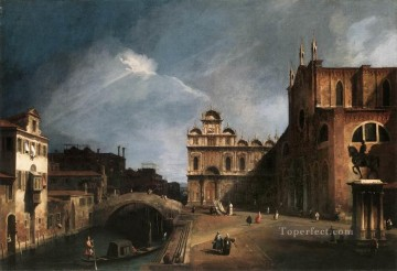Cityscape Painting - Santi Giovanni E Paolo And The Scuola Di San Marco 1726 Canaletto Venice