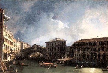 CANALETTO The Grand Canal Near The Ponte Di Rialto Canaletto Venice Oil Paintings