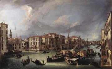Cityscape Painting - The Grand Canal with the Rialto Bridge in the Background Canaletto Venice