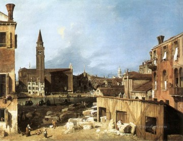 Cityscape Painting - The Stonemasons Yard Canaletto Venice