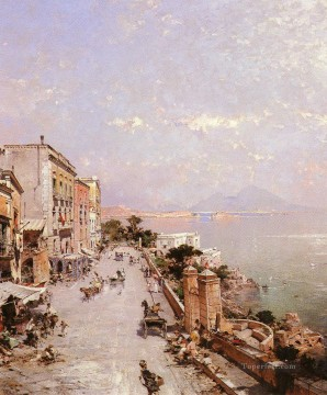 BelgianA View Of Posilippo Naples Franz Richard Unterberger Venice Oil Paintings