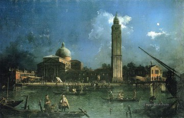 Celebration Painting - night time celebration outside the church of san pietro di castello Canaletto Venice