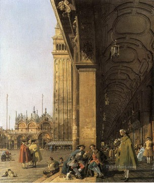 piazza san marco looking east from the southwest corner piazza san marco and he colonnade Canaletto Venice Oil Paintings