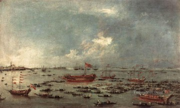 Cityscape Painting - Outward Voyage of the Bucintoro to San Nicolo del Lido Francesco Guardi Venetian
