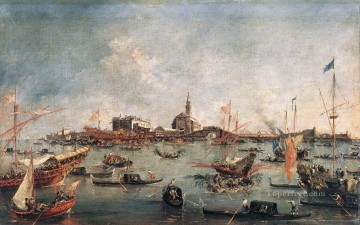 Cityscape Painting - The Doge on the Bucentaur at San Niccolo del Lido Francesco Guardi Venetian