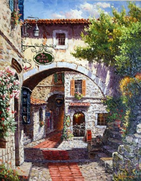 Europe Painting - Cafe Eze European Towns